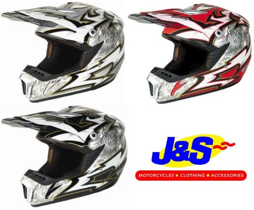 TAKACHI TK160 OFF ROAD MX MOTO CROSS ENDURO MOTORBIKE MOTORCYCLE DIRT HELMET J&S (RED / RED / SILVER, 2XL XXL 64 CMS)