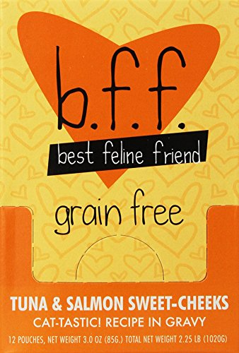 Best Feline Friend (BFF) Tuna and Salmon Sweet Cheeks, Pack of 24 (3oz pouches)