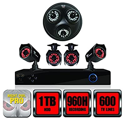 Night Owl Security B-PE81-46-3DM 8-Channel DVR with 1TB HDD, HDMI Output, 4 Night Vision Cameras, 3-In-1 Audio Dome Camera and Free Night Owl Pro App (Black)