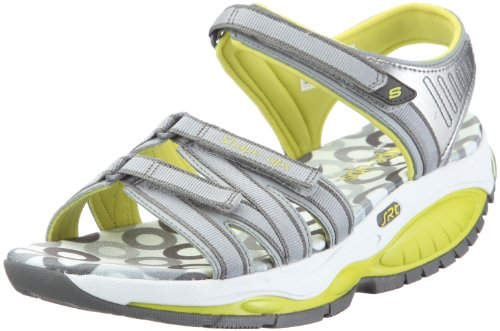 Skechers Women's Kinetix Response Extremes Sandal Grey/Lime UK 7