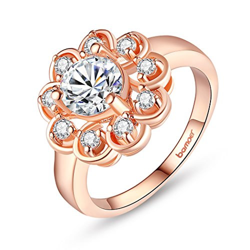 Bamoer Charm Fashion Gift Rose Gold Plated Brass Aaa Cubic Zircon Flower Finger Rings For Women Girls
