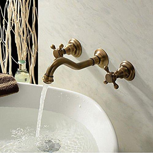 HiendureTM Two Handle Wall Mount Antique Inspired Solid Brass Bathroom Sink Faucet Lavatory Vanity Bathtub Mixer Taps Long Curve Spout Vessel Sink Bath Shower Plumbing Fixtures Cheap Discount Shower Set Faucets Roman Tub Bar Faucets