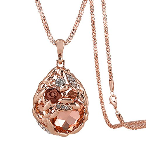 Hen-Night Austrian Crystal Rose Gold Wheat Shape Pendant Necklace.The Treasure In Cornfield (Coral Rings compare prices)