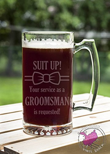Suit Up Bow Tie GROOMSMAN Service Requested 24 oz Etched Glass Stein Beer Mug with Handle Love Forever Birds Always Relationships Wedding Bridal Engaged Propose Married Brother Groom Friends Will You Be My Best Man Groomsmen Ask Idea