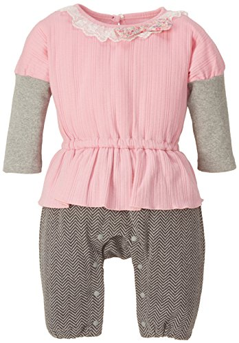 ニシキ Bon chou chou ボンシュシュ 重ね着風リボン付き長袖カバーオール P2809 80cm ピンク