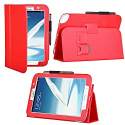 HHI UrbanFlip Series Viewing Stand Case for Samsung Galaxy Note 8.0 - Red (Built-in magnet for sleep and wake feature)