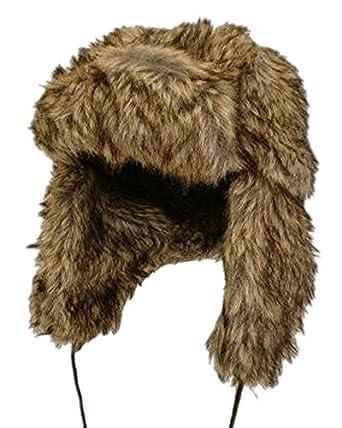 Unisex Luxury Faux Fur Russian style trapper hat. Camel/Brown 59
