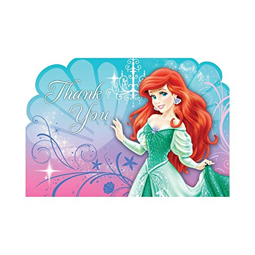 Ariel the Little Mermaid Sparkle Thank You Notes w/ Envelopes (8ct)