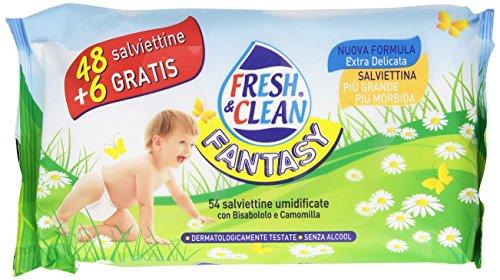 Fresh & Clean - Fantasy, Salviettine Umidificante con Bisabololo e Camomilla -   54 Salviettine