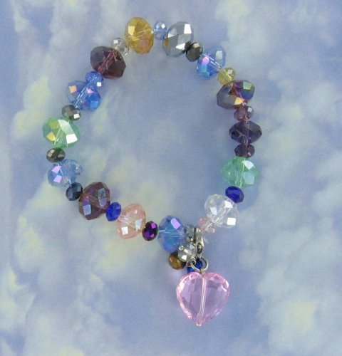 Multi-color Rainbow Swarovski Sparkling Crystal Bracelet with Removal Paisely Pink (very pretty) Heart Drop Dangle Pendant, Can Wear with Necklace.
