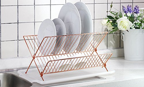 deluxe-chrome-plated-steel-foldable-x-shape-2-tier-shelf-small-dish-drainers-with-drainboard-copper