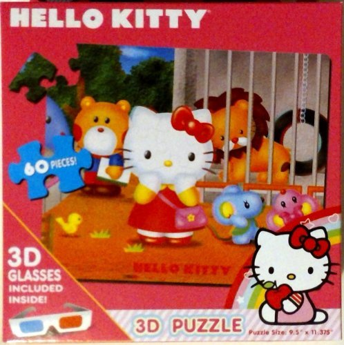 Hello Kitty 60 Piece Jigsaw 3D Puzzle - Zoo Includes 3D Glasses - 1