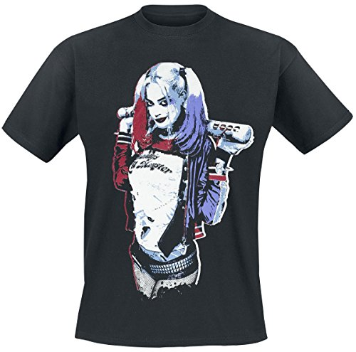Escuadrn-Suicida-Harley-Quinn-Daddys-Little-Monster-Camiseta-Negro-S