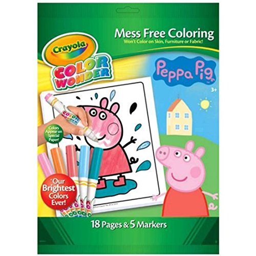 Peppa Pig Colour Wonder Set Mess Free Colouring by Crayola 18 Pages & 5