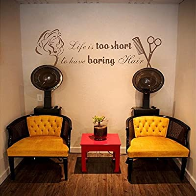 Life Is Too Short To Have Boring Hair Beauty Salon Shop Wall Decal Quote Barber Art Letters Words Wall Decor