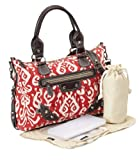 OiOi Ilkat Tapestry Slouch Tote Baby Changing Bag Red