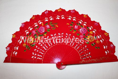 Quality Spanish Flamenco Vintage Dance Wooden Folding Hand Held Fan Multi-Colors (Red)