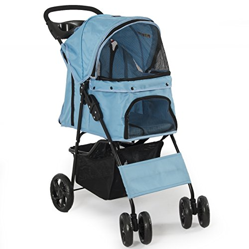 PETZONE© Four Wheel Pet Stroller Dog, Cat & More, Foldable Carrier Strolling Cart, (Light Blue)