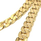 "Chunky 22"" 12mm 24k Yellow Gold Plated Mens Necklace Solid Curb Chain Fashion Jewelry Free Shipping"