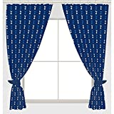 Tottenham FC Official Ready Made Repeat Crest Curtains (One Pair) (Blue)