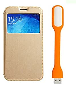 Novo Style Samsung Galaxy J7 Window View Premium Flip Cover Case W Stand View + Mini USB LED Light Adjust Angle / bendable Portable Flexible USB Light