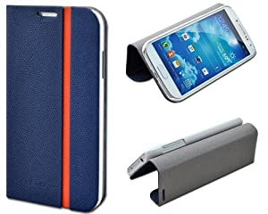 Shenit Samsung Galaxy S4 i9500 Slim Smart Leather Case Flip Cover Folio with Stand - Blue