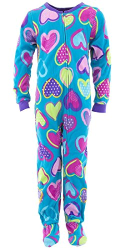 Komar Kids Big Girls' Colorful Hearts Teal Footed Pajamas