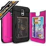 Galaxy S5 Case, TORU® [CARD SLOT] Galaxy S5 Wallet Case [SHOCKPROOF] [KICKSTAND] [MIRROR] Protective Hybrid Card Case for Samsung Galaxy S5 - Hot Pink (21S5TPUSKS-HP)