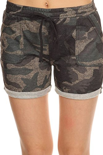 Women's Camouflage Roll Cuff Short Small/Medium Dark Olive Women Camouflage Shorts