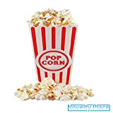 """[Novelty Place®] Plastic Red & White Striped Classic Popcorn Containers for Movie Night - 7.8"""" Tall x 3.8"""" Square (16 Pack)"""