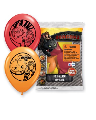 "Pioneer National Latex DreamWorks 12"" How To Train Your Dragon 2 6 Balloons, Assorted"