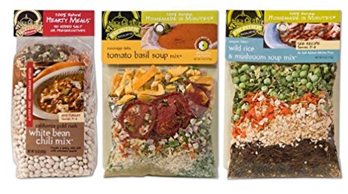Frontier Soups 100% Natural Homemade In Minutes GF Soup Mix 3 Flavor Variety Bundle: (1) Calif Goldrush White Bean Chili, (1) Mississippi Tomato Basil, and (1) Oregon Wild Rice & Mushroom, 4-15 Oz Ea (Tomato Basil Rice Cakes compare prices)