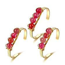 buy Icareu Round Natural Agates Inlaid Gold Plating Cuff Bracelet (Red)