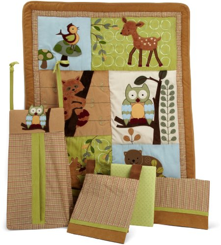 Lambs and Ivy 5 Piece Bedding Set, Enchanted Forest