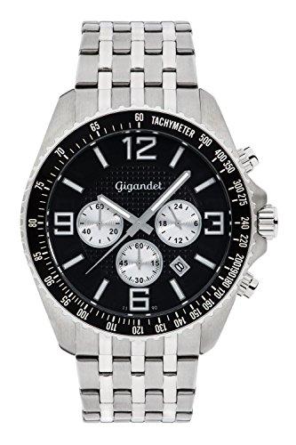 Gigandet FAST TRACK Orologio Uomo Cronografo Analogico Quarzo Argento Nero G12-007