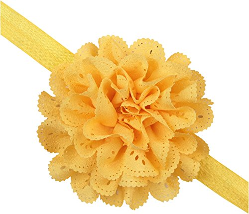 PinkXenia Wavy Edge Hollow Out Yellow Flower soft Elastic Newborn Headband