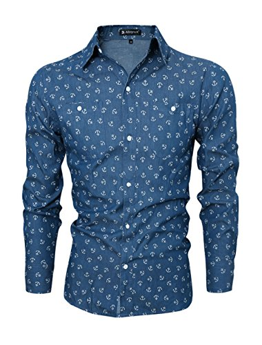 Allegra K Uomo Ancora Motivi Con Bottoni Camicia Di Jeans - cotone, Navy, 100% cotone, Uomo, M 48
