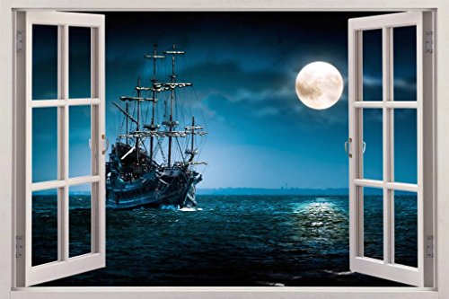 PIRATE SHIP 3D Window View Decal WALL STICKER Home Decor Art Mural Fantasy, Giant C073
