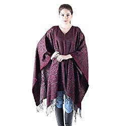 Owncraft maroon acro wool cape for women