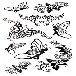 Amazon.com : GGSELL New design black butterfly angel temporary tattoos