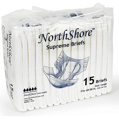 NorthShore Supreme Briefs, Large, Pack/15