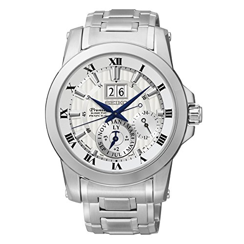 Seiko SNP091 Men's Premier Kinetic Perpetual Stainless Steel Watch
