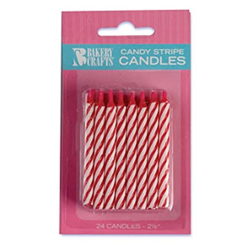 Oasis Supply Candy Stripe Birthday Candles, 2.5-Inch, Red - 1