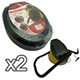 New 3 Litre Foot Pump - Bellows air pump - 2 different sized nozzles - Inflates & Deflates - Ideal for camping & General use (Pack of 2)