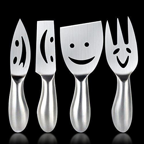 Cheese Knife Yummy Sam® Happy Faces Flatware Set Dinnerware Cheese sets Cheese Fork Cheese Knife Stainless Steel Cheese Shovel, Cheese Slicer Cheese Cutter, Set of 4