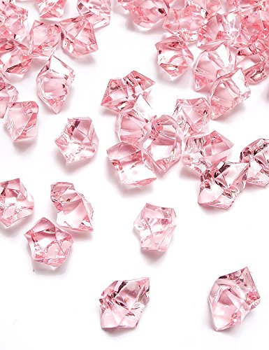 DomeStar 150 PCS Acrylic Clear Ice Rock Cubes, Crystals Treasure Gems, Pink (Pink Vase Filler Gems compare prices)