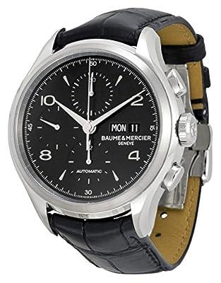 Baume Et Mercier Capeland Chronograph Black Dial Black Leather Mens Watch Moa10211