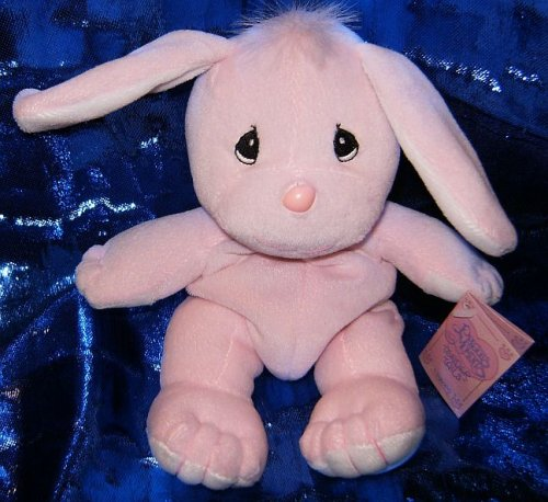 "Precious Moments Tender Tails Pink Bunny 6"" Plush Beanie - 1"