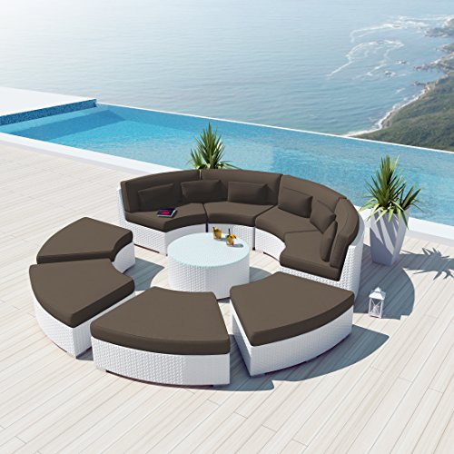 New Uduka 9Pcs Outdoor Round Sectional Patio Furniture White Wicker Sofa Set Dark Grey All Weather Couch