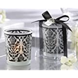 Black Damask Frosted Votive Candle Holder - Set Of 4
